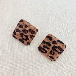 Vintage fabric leopard earrings for pierced ears.